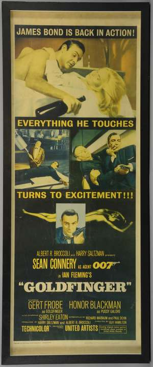 James Bond Goldfinger (1964) US Insert film poster, starring Sean Connery & Honor Blackman, United Artists, framed, 14 x 36 inches
