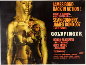 James Bond Goldfinger (1964) British Quad film poster, Style A, art by Robert Brownjohn, starring Sean Connery, United Artists, framed, 30 x 40 inches