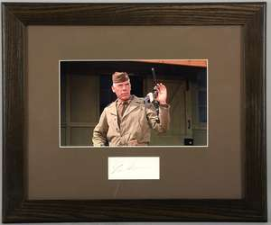 Lee Marvin - a signed card with photographic print from the film The Dirty Dozen, framed, 12 x 15 inches