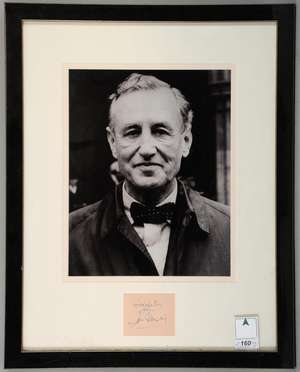 Ian Fleming (1908-64) British author & creator of James Bond, a clear ink signatures on paper, mounted & framed with photograph, 17 x 22 inches