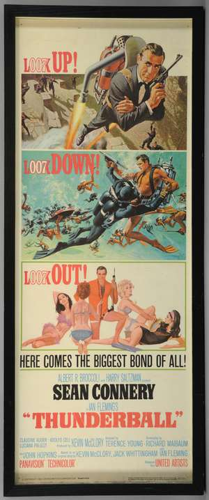 James Bond Thunderball (1965) US Insert film poster, starring Sean Connery, United Artists, framed, 14 x 36 inches