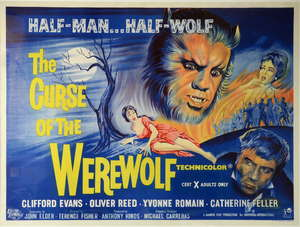 The Curse of The Werewolf (1960) British Quad film poster, Hammer Film Production, Horror directed by Terence Fisher, Universal-International, framed, 30 x 40 inches