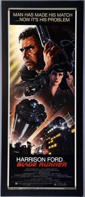 Blade Runner (1982) US Insert film poster, starring Harrison Ford, Warner Bros, framed, 14 x 36 inches