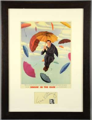 Singin' In The Rain (1952) US Photo Lobby card, mounted & framed with signature of Gene Kelly, MGM, framed, 21 x 15 inches