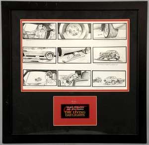 James Bond The Living Daylights (1987) Original production used storyboards, framed, 18 x 18 inches