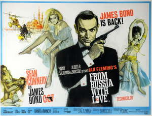 James Bond From Russia With Love (1963) British Quad film poster, art by Renato Fratini, starring Sean Connery, United Artists, framed, 30 x 40 inches