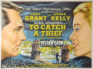 To Catch A Thief (1955) British quad film poster, starring Cary Grant & Grace Kelly, directed by Alfred Hitchcock, Paramount, framed, 30 x 40 inches
