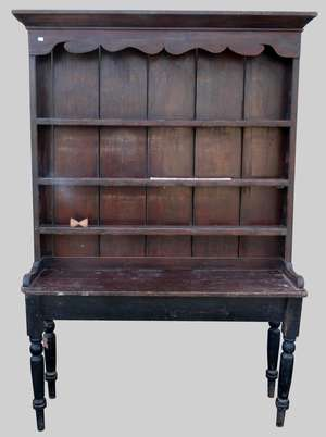 19th century painted pine three tier dresser top  154cm x 159cm  on late base with turned legs