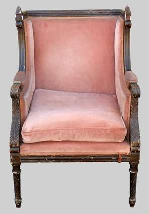 19th century painted arm chair with padded back and seat on spiral turned legs
