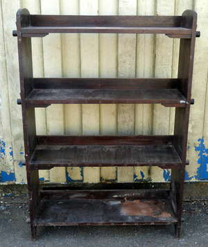 Early 20th century oak open bookcase, 130cm x 87cm and two other bookcases