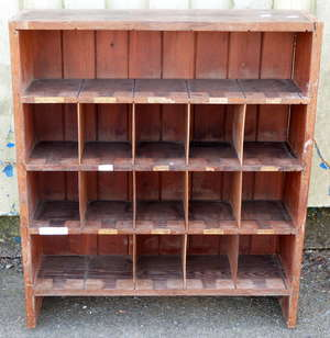 Two pine shelf units and a mahogany bookcase