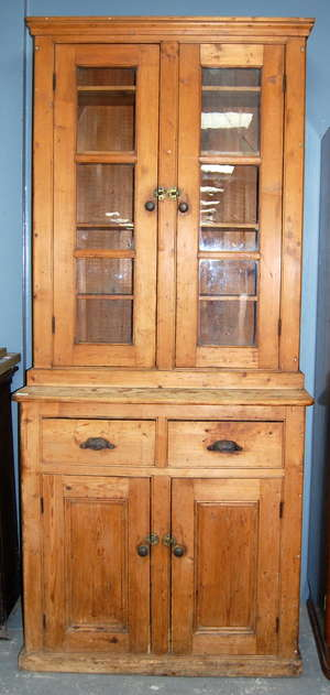 Late 19th century pine dresser the top with two glazed doors the base with two drawers and two cupboard doors 218cm x 96cm