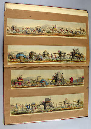 William Andrew Ludlow, Rare Panorama, Bengal Troops on the Line of March,  Panoramic Sketch by an Officer circa 1850, hand coloured. Cut and mounted in 1 Vol with bookplate for the Hon. Mr Justice Cornish, Madras.  Bengal Troops on the line of March