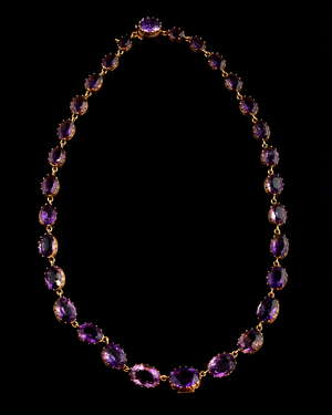 Updated Description- silver gilt mounted  A Victorian amethyst riviere necklace