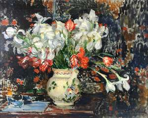 Jacques-Émile BLANCHE (1861-1942) Still life of a vase of flowers signed oil on canvas 72cm x 92cm