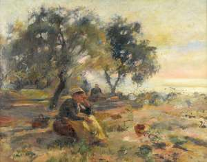 19th century English school, farm worker sitting in a field unsigned oil on canvas 72cm x 92cm