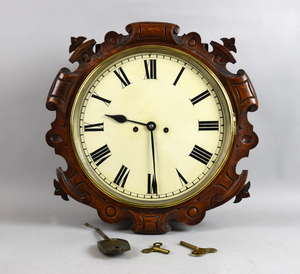 19th century double fusee oak cased wall clock 44cm