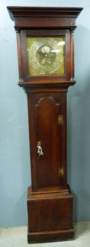 18th century oak longcase clock with brass dial by John William Boot