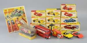 Dinky Toys Ford Capri Rally Car No.213, 2x Matra 630 No.200, Fiat Abarth 2000 No.202, 2x Lotus Europa No.218, NSU Ro 80 No.176, 4x McLaren M8A No.223 (all boxed) and other unboxed Dinky models. (qty)