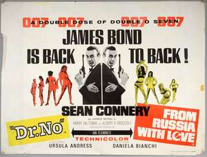 James Bond Dr. No / From Russia With Love (1965) British Double Bill Quad film poster
