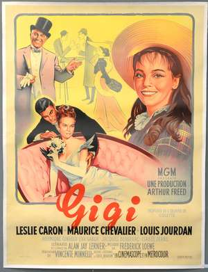 Gigi (1958) French Grande film poster, starring Leslie Caron, M.G.M., linen-backed, 47 x 63 inches
