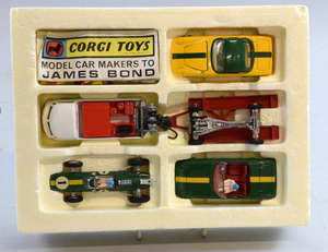 Corgi Toys, Gift Set 37, Lotus Racing Team, comprising of 490 VW breakdown truck, red trailer, Lotus Climax Formula 1 racing car, Lotus Elan 52, Lotus Elan 52 hard top, with 17 cones, Corgi Model Club leaflet, 2 sets of racing number stickers used wi