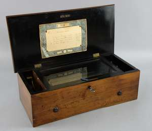 An early 20th century music box fitted with four air movement, unnamed, 30cm