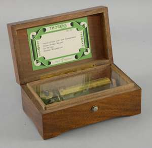 Early 20th century Thorens musical box fitted with four air movement.  20cm wide