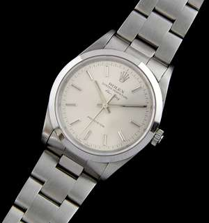 Rolex Oyster Perpetual Air-King Precision gentleman's bracelet watch, in stainless steel,  ref. 14000. the silvered dial with baton markers and sweep centre seconds, Oyster bracelet, 34 mm Circa 2000. With box and papers