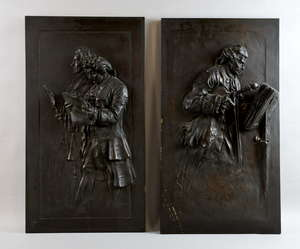 Two early 20th century copper relief plaques of musicians