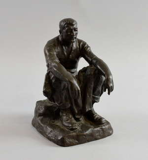 Albert Toft Bronze figure of workman resting signed on base  22cm high