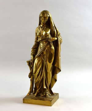 Cast bronze figure of a woman in classical dress on integral square base