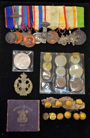 Row of mixed medals including George V Royal Victorian Medal
