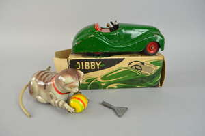 Jibby clockwork toy car with original box and a German tinplate playful kitten