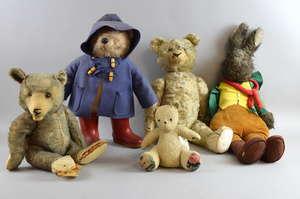 Paddington Bear, various play worn teddy bears and other soft toys