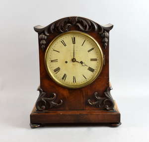 19th mahogany mantle clock, the two train fusee movement striking the hours on a bell, 42cm x 34cm