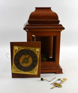 Late 19th/early 20th century fusee clock movement, the back plate bearing the signature Ganzinotto Genoua, with later 1970's case and board, 44cm high