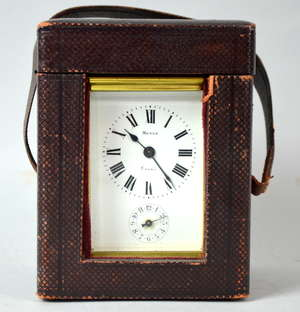 Brass and glass carriage clock by Merle 14cm in leather travel  case