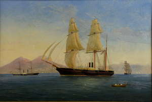In the manner of Antonio De Simone, shipping in the Bay of Naples, oil on canvas, signed and dated 33.5 x 52cm
