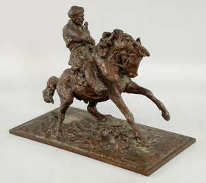 § Jonathan Kenworthy (British b 1943), 'Salute of a Champion', a Chapandaz, one of the best riders greets the president of the game in traditional style, from the series 'Horsemen of the Hindu Kush', bronze, signed and numbered 7/7, first shown at Co