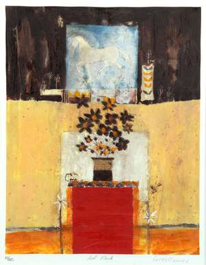 Leo McDowell, RI (British, 1948-2011). 'Red Flask', limited edition print. Signed and numbered 101/485 in pencil to margin, framed and glazed. With Shell House Gallery label verso. Image size: 37cm x 29cm, frame size: 61cm x 51cm.