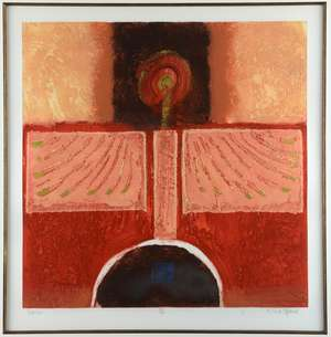 Mark Spain (British, b.1962). 'Icarus' Limited edition collagraph print, signed titled and numbered 15/50 in pencil to margin. Framed and glazed. Image size: 43cm x 43cm (frame size: 92cm x 88cm)