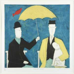 Annora Spence (British, b.1963). 'Under The Umbrella', limited edition print. Signed, titled and numbered 85/150. Framed and glazed. Image size: 34cm x 35cm, frame size: 62cm x 61cm.