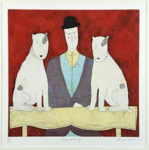 Annora Spence (British, b.1963). 'Lady And Two Dogs', limited edition print. Signed, titled and numbered 85/150. Framed and glazed. Image size: 34cm x 35cm, frame size: 62cm x 61cm.