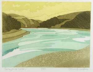 John Brunsdon (British, 1933-2014). 'Derbyshire Lake', limited edition print. Signed, titled and numbered 1/150. Framed and glazed. Print size: 23cm x 30cm, frame size: 39cm x 44cm.