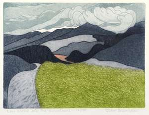 John Brunsdon (British, 1933-2014). 'Low Cloud Over The Mountains', limited edition print. Signed, titled and numbered 14/150. Framed and glazed. Print size: 23cm x 30cm, frame size: 39cm x 44cm.