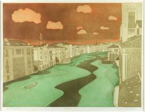 John Brunsdon (British, 1933-2014). 'Grand Canal', limited edition print. Signed, titled and numbered 36/150. Framed and glazed. Print size: 45cm x 60cm, frame size: 74cm x 87cm.