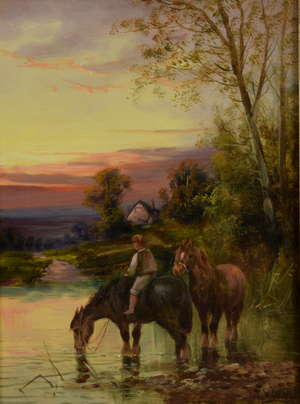 Charles W. Oswald - pair, Horse and cart on a farm track and watering the horses, signed, oils on canvases, 39cm x 28.5cm