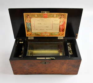 Late 19th century Swiss musical box playing four airs on an 11.5cm cylinder, in burr walnut and ebonized case, numbered 52653, case 30cm wide