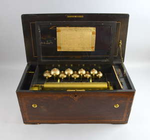 19th century Swiss musical box playing eight airs on a 33cm cylinder and nine bells, numbered 19686, in a rosewood and marquetry inlaid case, case 25cm x 57cm x 28.5cm